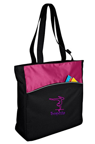 All about me company Personalized Gymnastics Two-Tone Colorblock Tote Bag (Passion Pink/Black) ()