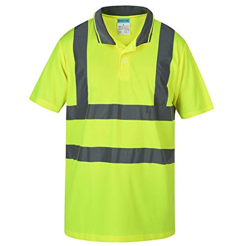 SHORFUNE High Visibility Polo Shirt with Reflective Strips, Yellow, ANSI/ISEA Standards, XL (Hi Vis Polo Shirts With Reflective Tape)