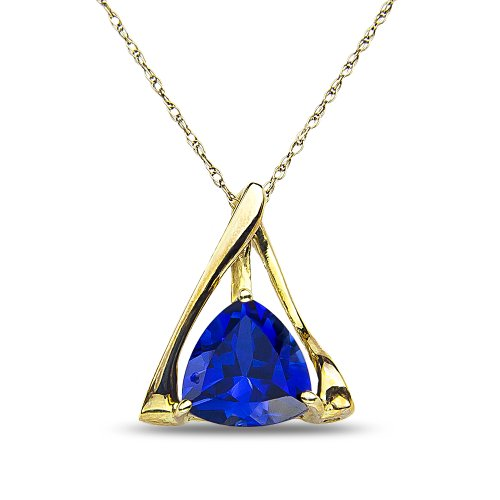 Women's Created Sapphire Pendant & Complementary Chain in 10k Yellow Gold