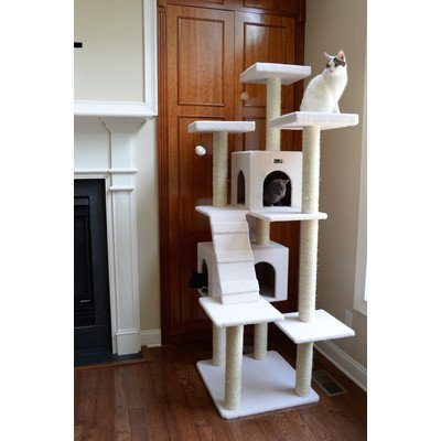 - Beige Deluxe 77 Classic Tower Condo House Cat Tree Climbing Scratcher Covered with faux fleece posts are wrapped in 100% cured sisal 77