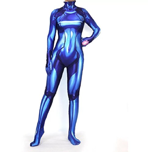 Joyfunny Samus Zero Aran Costume Blue 3D Printed Girl Cosplay Bodysuit Halloween Zentai Female M