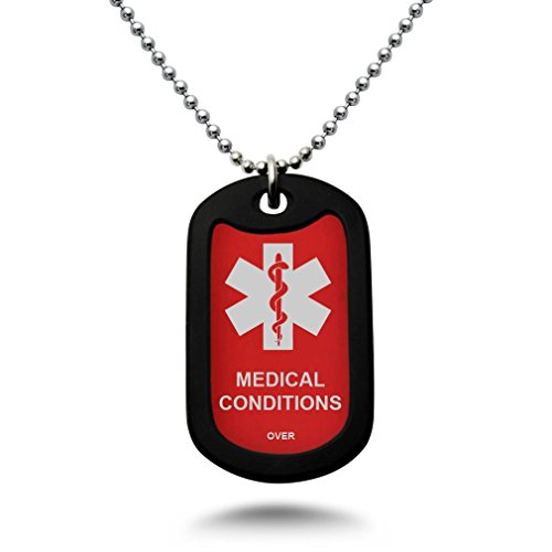 Custom Engraved Medical Alert ID Aluminum Dog Tag Necklace with Stainless Steel bead Chain MADE IN USA(Red)