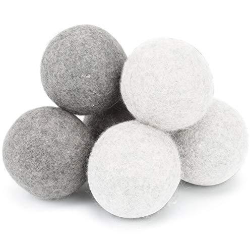 Wool Dryer Balls - Set of 6 - XL - Extra Large - 100% Natural Premium Organic Wool (3 gray + 3 white)