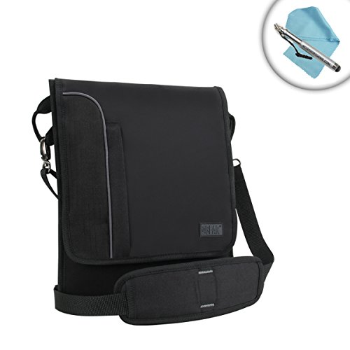 "Professional Shoulder Sling Tablet Case Messenger Bag with Carrying Adjustable Strap & Black Material by USA Gear - Works with Samsung Galaxy Book 10 & More 10"" Tablets"