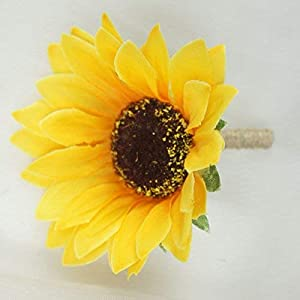 Lily Garden Artificial Calla Lily Sunflower and Peony Flower Wedding Bouquets (boutonniere) 3