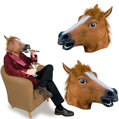 WEIZHUANGZHE Horse Mask Halloween Horse Head Mask Latex Creepy Animal Costume Theater Prank Crazy Party Halloween Decor 330gE,Yellow
