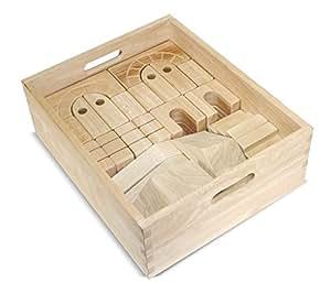 Melissa & Doug Architectural Wooden Unit Block Set With Storage Crate (44 pcs)