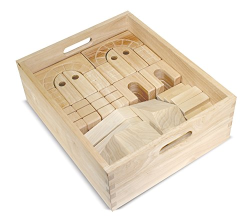 Melissa & Doug Architectural Wooden Unit Block Set With Storage Crate (44 pcs)