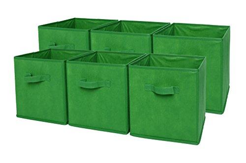 Sodynee Foldable Cloth Storage Cube Basket Bins Organizer Containers Drawers, 6 Pack, (Green Storage)
