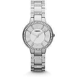 Fossil Women's Virginia Quartz Stainless Steel Dress Watch, Color: Silver (Model: ES3282)