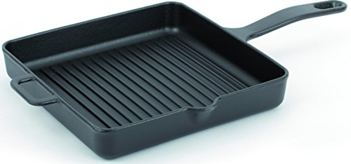 Dexart Cast Iron Skillet Grill Pan - Square - Enameled - 9.8'' (Black) by Dexart (Image #3)