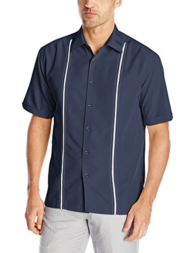 Cubavera Mens Contrast Insert Stitching Short Sleeve Woven Shirt,Dress Blues,X-Large