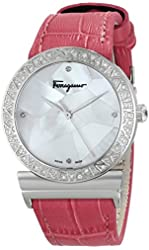 Salvatore Ferragamo Women's FG2160014 Grande Maison Diamond-Accented Stainless Steel Watch with Pink Leather Band