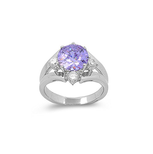 Round Light Purple Lavender Prong Set Cubic Zirconia Center Ring 925 Sterling Silver Size 7