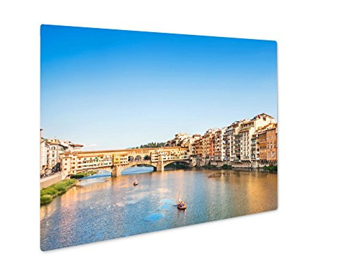 Ashley Giclee Ponte Vecchio With River Arno At Sunset Florence Italy, Wall Art Photo Print On Metal Panel, Color, 8x10, Floating Frame, (Florence Photo Gallery)
