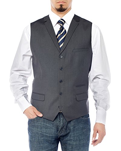 Salvatore Exte Men's Notch Lapel Casual Vest Modern Fit Dress Suit Waistcoat (42 US/52 EU = Large,Charcoal) (Notch Lapel Vest)