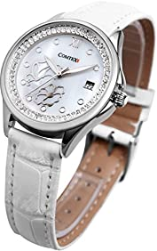 Comtex Lady Casual Analog Wrist Watch White Leather Strap Pattern with