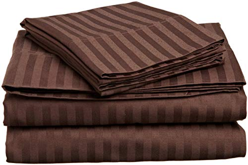 1 Flat Sheet & 2 Pillowcase, 100% Cotton, 400 Thread Count, Staple Combed Pure Natural Cotton Sheet, Soft & Silky Sateen Weave- Chocolate Stripe, Full Size. - Flat Sheet Stripe Chocolate