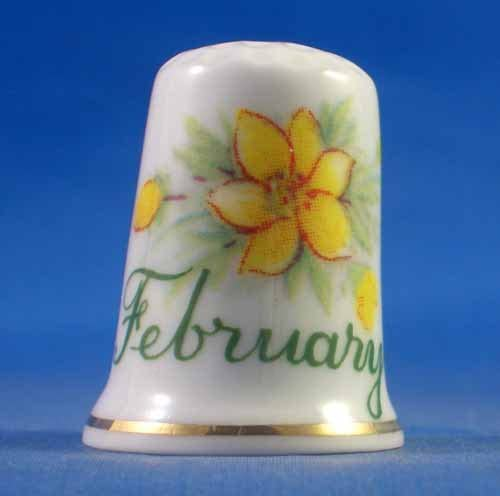 Flower of the Month Porcelain China Thimble February