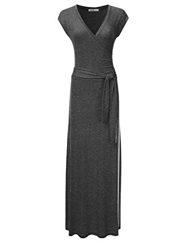NINEXIS Women's V-Neck Cap Sleeve Waist Wrap Front Maxi Dress CHARCOAL ()