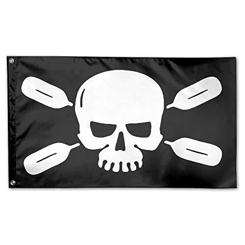 (WINDST Personalized River Paddle Skulls Logo Garden Flag 3x5 ft Outdoor Garden Decorative Banner Black)