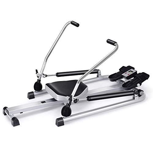 GOPLUS Hydraulic Rowing Machine Rower with LCD Monitor, Adjustable Resistance and Full Arm Extensions, 250 lb Weight Capacity