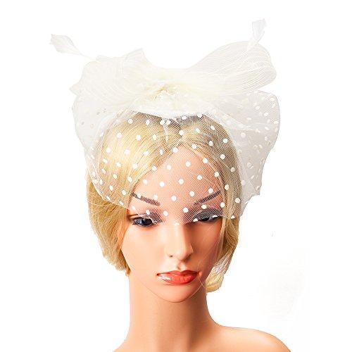 Wedding Flowers Feathers (Beelittle Fascinators Hat Cocktail Tea Party Wedding Headwear Flower Mesh Feathers Headband Clip for Girls and Women (B-Milk))