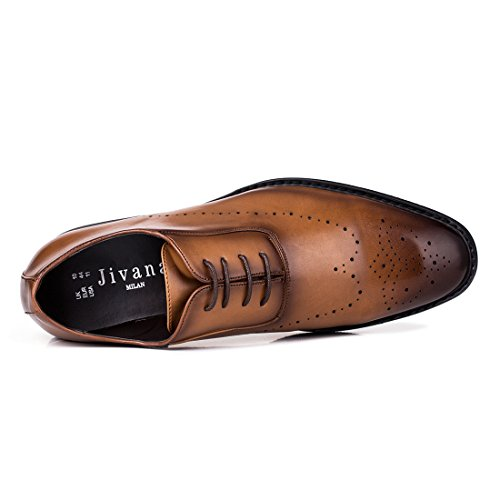 Jivana Oxford Busniess Dress Shoes for Men Father Lace-up (9, Brown-7) by Jivana (Image #5)
