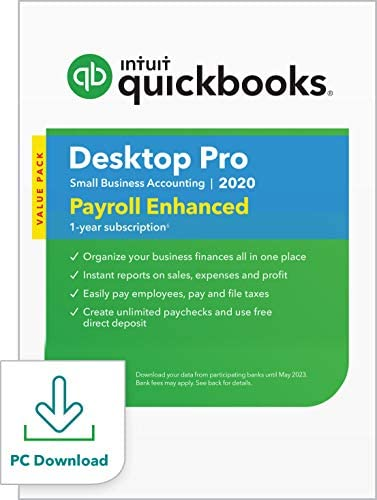 QuickBooks Desktop  Professional with Enhanced Payroll 2020  Accounting Software program for Small Enterprise with  Shortcut Information [PC Download]