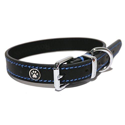 Rosewood 04002 Leder-Hundehalsband für Halsumfang von 25.4-35.6cm, schwarz