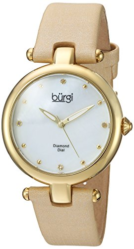 Burgi Women's Quartz Stainless Steel and Leather Casual Watch, Color:Gold-Toned (Model: BUR169GLD)