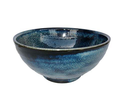 (Japanese 40 fl. oz Sanuki Bowl Donburi Udon Noodle Ramen Soup Pasta Serving bowl, Authentic Mino Ware, Navy M50022 from Japan )