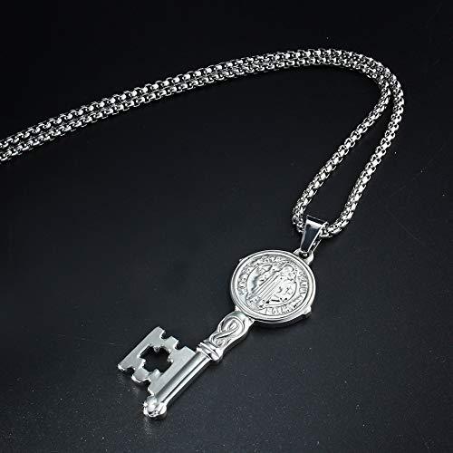 BORNmemo St Benedict Key Religious Pendant Medal//Llave Con Medalla De San Benito en Tono Pulgadas in Stainless Steel