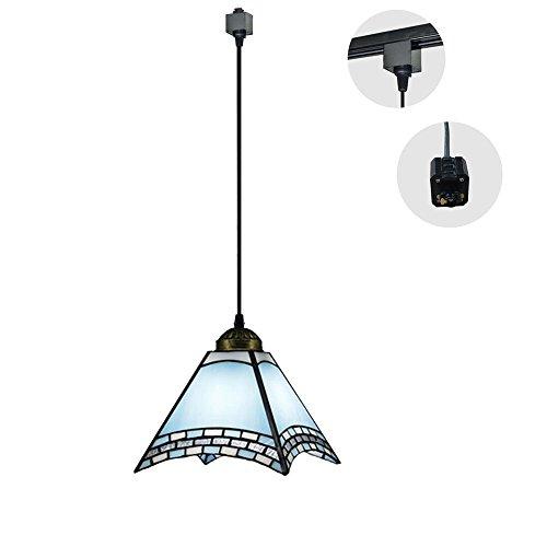 Three Wire Track Light - KIVEN H-type 3 wire track light pendants Length 3.3 feet restaurant chandelier decorative Chandelier instant pendant light Tiffany Pendant Lamp,Blue