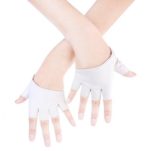 JISEN Women Half Palm Half Finger PU Leather Dancing Punk Gloves White (Gloves Women Leather For Short)