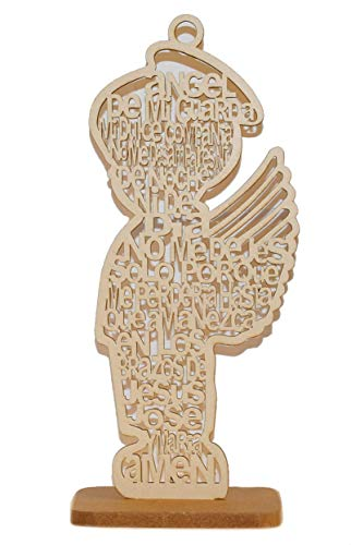 Elegant (12 Inch) Wooden Religious Centerpiece Cross Baby Shower Communion Wedding Party Decoration - Set of 4 Pieces (Angel Boy)