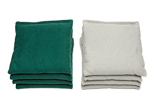 Weather Resistant Cornhole Bags (Set of 8) by SC Cornhole (Grey/Hunter Green)