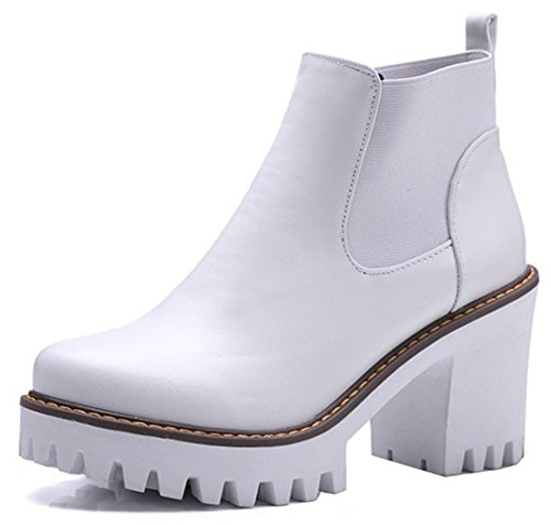 Round High Boots Elegant Easemax Toe Women's On Platform Heel White High Ankle Chunky Pull 7wPq0Cw