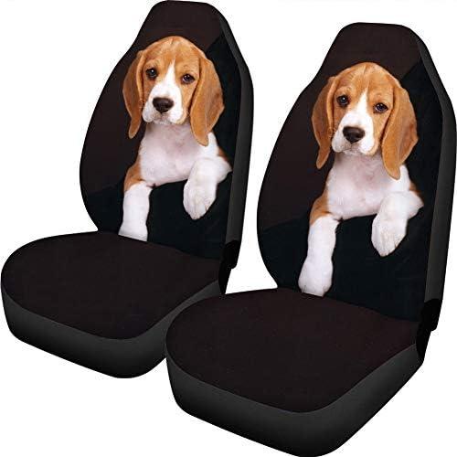 WHEREISART Car Seat Covers 2 Pcs Set Lovely Pet Dog Beagle Black Design Car Interior Decor Universal Auto Combo Front Seats Protectors