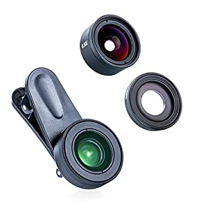 Phone Camera Lens Kits,LENSFIKASE 3 in 1 Clip-On Lens Kits Fisheye Lens&Wide Angle Lens &Macro Lens,Professional HD Camera Lens Compatible with iPhone Samsung Android Most Smartphones and Tablets