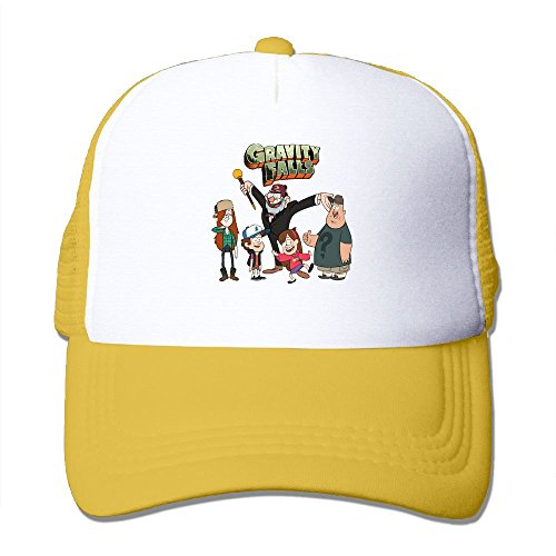 Avis N Gravity Cartoon Falls Mesh Hat Trucker Caps Hats Yellow