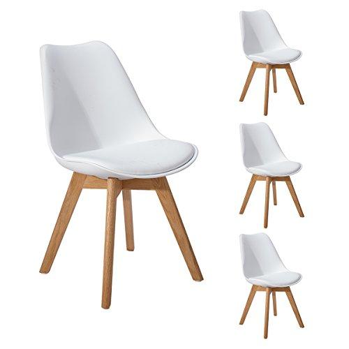 DORAFAIR Pack 4 sillas escandinava Estilo nordico Silla de Comedor, con Las piernas de Madera de Roble Maciza y cojin comoda,Blanco