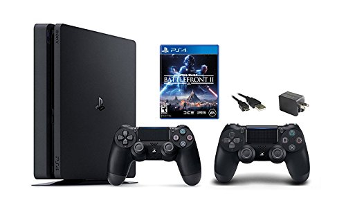 PlayStation 4 Slim 1TB Console 2 items Bundle: PS4 Slim – Star Wars Battlefront II Bundle, Sony PlayStation 4 Dualshock 4 Wireless Controller Jet Black