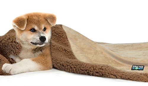 """KritterWorld Pet Dog Cat Puppy Kitten Microplush Sherpa Snuggle Blanket for Couch, Car, Trunk, Cage, Kennel, Dog House, 45"""" x30"""" Latte/Brown"""