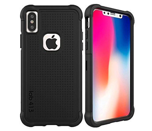 lab413 iPhone X & XS Tough Jacket Case Rugged Drop Protection (Does NOT FIT XR or Xs MAX) - Matte Black
