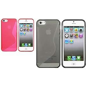 2 Set Claro Gris+Claro Rosa Fuerte S Forma TPU Gel Funda Para Apple iPhone 5 5G