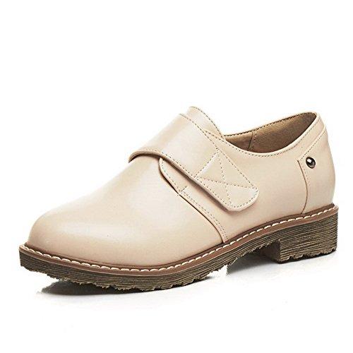 Odomolor Women's Low-Heels Blend Materials Solid Hook-and-Loop Pumps-Shoes, Beige, 39
