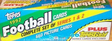 1992 Topps Football Factory Sealed Set, Including the 660 Card Regular Topps Set Plus 20 Randomly Selected Bonus Gold Parallel Version Cards. Loaded with Stars Including Emmitt Smith, John Elway, Barry Sanders, Marcus Allen, Reggie White, Steve Young and Many Others!