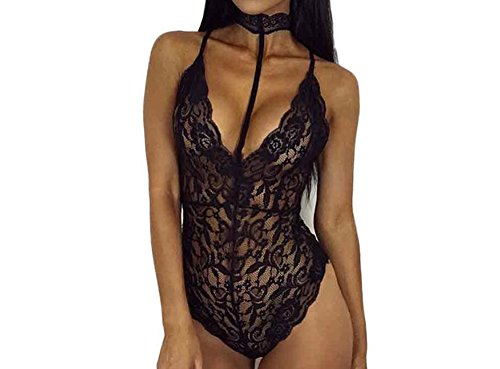 Price comparison product image Feite Fashion Women Sexy Lace Backless Jumpsuit Swimsuit Bodysuit (Black, L)