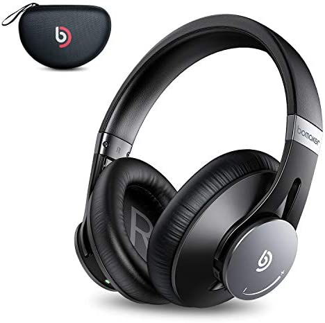 Wireless Headphones, Bomaker Wired Wireless Bluetooth 5.0 Over Ear Headphone, Built-in Microphone, Hi-Fi Stereo Sound, CVC 8.0, with Waterproof Case, for PC Mobile TV, Black